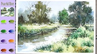 Without Sketch Landscape Watercolor - Peaceful River (color mixing, Arches) NAMIL ART