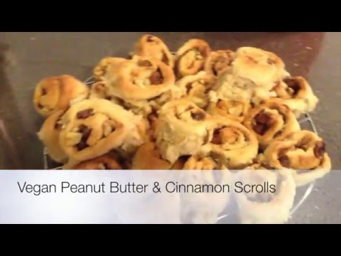 Delicious Vegan Peanut Butter Cinnamon Rolls with sultanas & walnuts