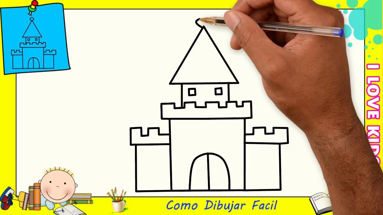 Como Dibujar FÁcil MÉtodo Para Principiantes Y Como: Como Dibujar Un Castillo FACIL Paso A Paso Para Niños Y
