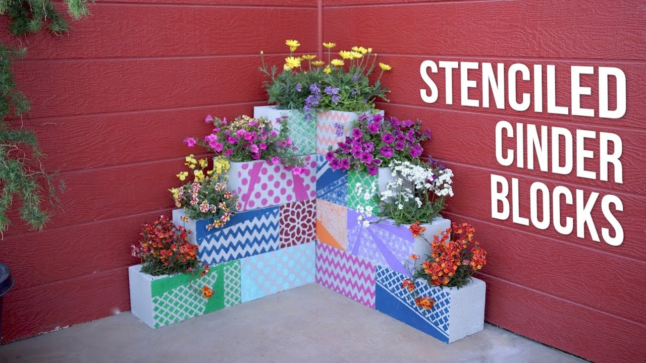 Diy stenciled cinder block planters garden answer youtube diy stenciled cinder block planters garden answer solutioingenieria Images