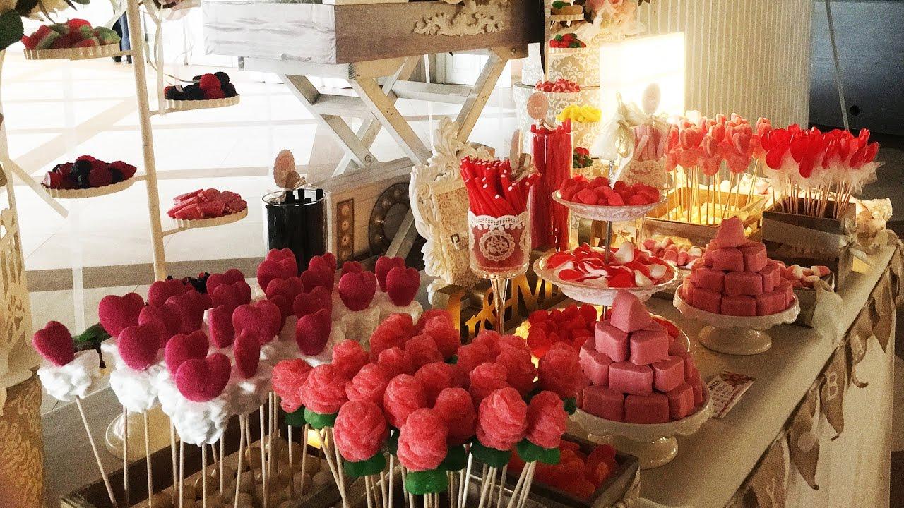 Candy bar las mejores mesas dulces chuches tartas y globos onza youtube - Ideas para decorar mesas de chuches ...
