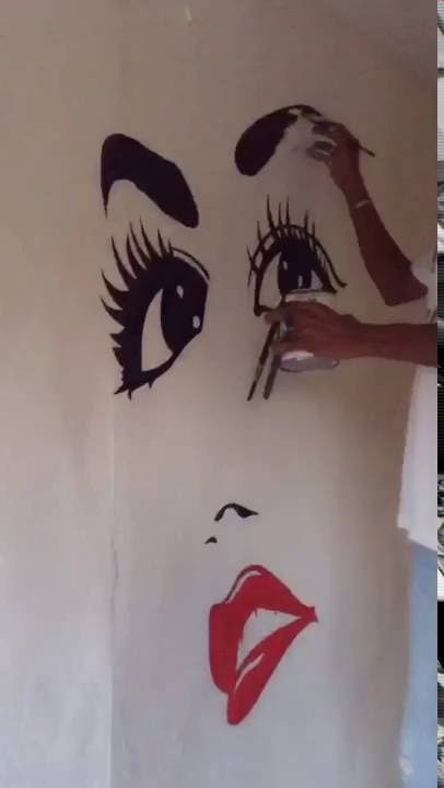 Como hacer dibujo en pared para salones con pintura - Pintura pared salon ...