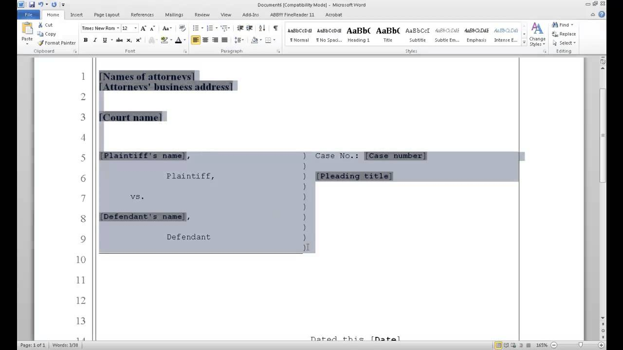 how to format pleading paper in word