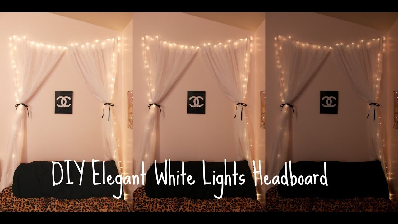 Diy Elegant White Lights Headboard Youtube Interiors Inside Ideas Interiors design about Everything [magnanprojects.com]