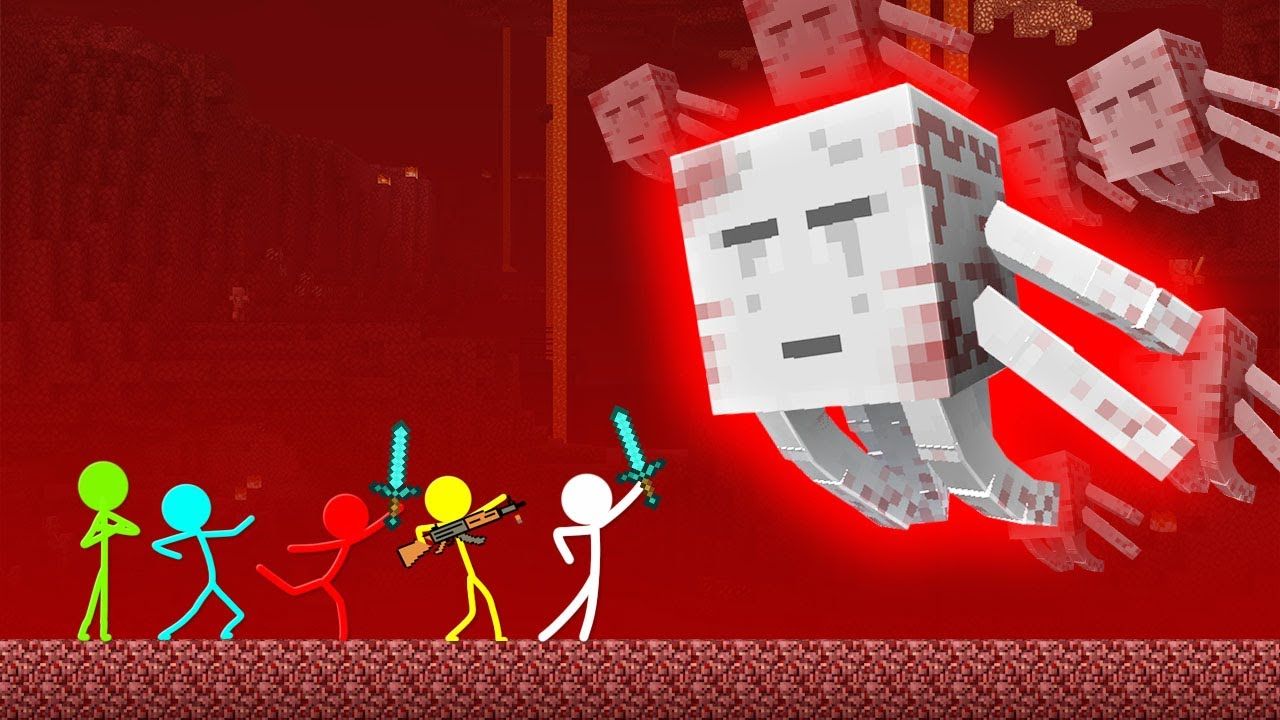 Stickman VS Minecraft: Ghast Mutant Attack - AVM Shorts Animation