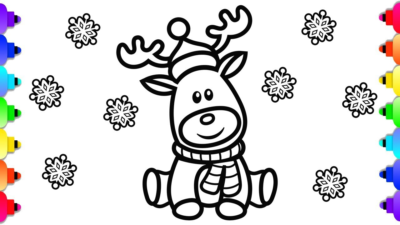 Rudolph the Red Nose Reindeer Coloring Page 💚🎄💚Christmas Coloring Pages  💗