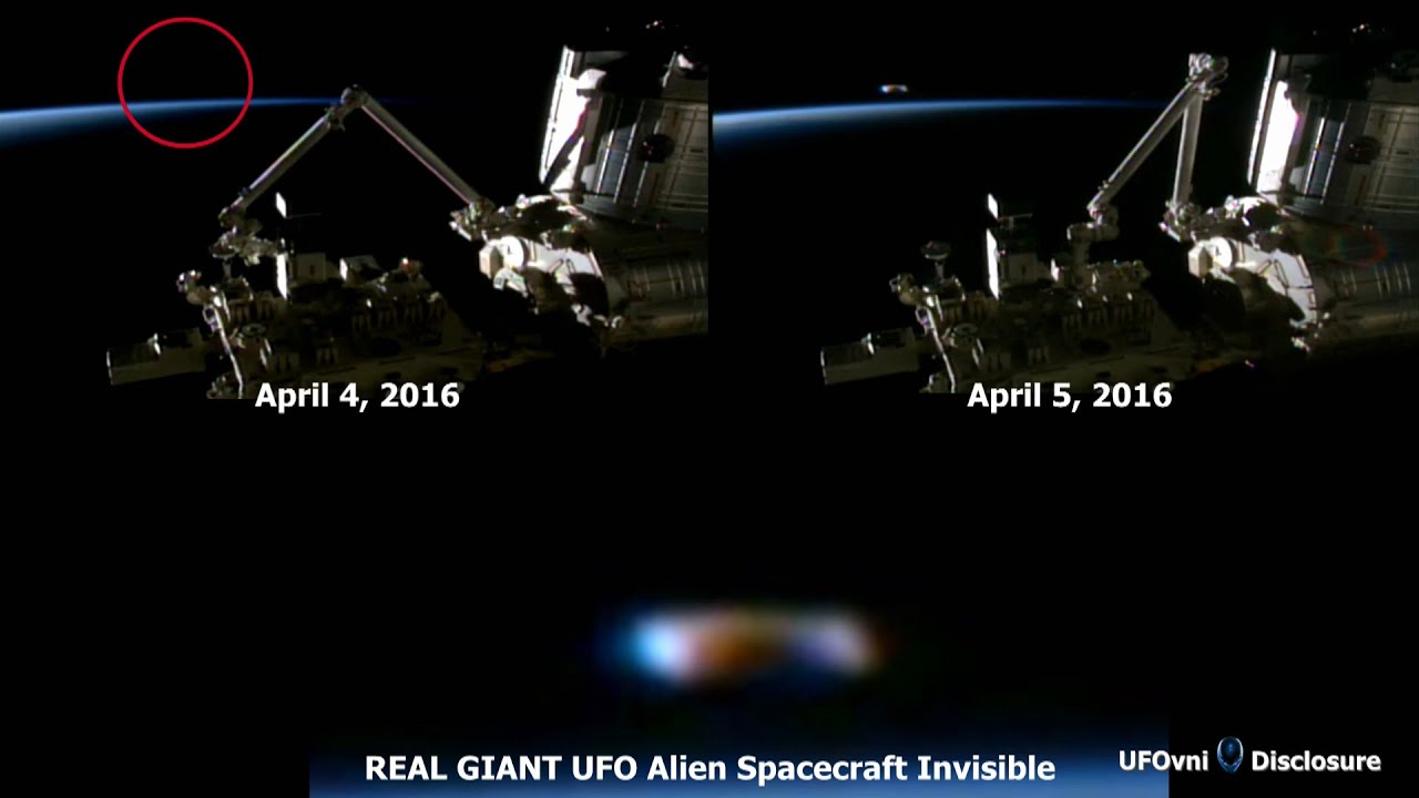 REAL GIANT UFO Alien Spacecraft Invisible Near ISS, April ...