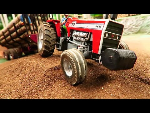 Rc Tractors With Farm Machinery Stuck Ln Mud / Massey Ferguson 1155 In Action