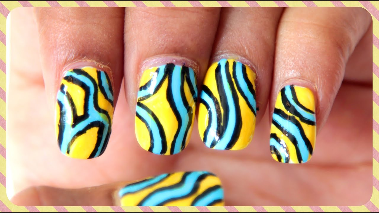 Easy Abstract Nail Art Design | #ChipperNails - YouTube