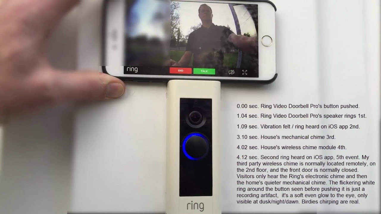 Ring Video Doorbell Pro - ring timing, lag/latency, and chime sequence  demonstration
