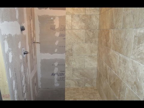 Time lapse large format porcelain tile, wood look plank tile