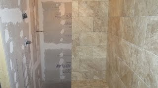 Time Lapse Large Format Porcelain Tile, Wood Look Plank Tile Installed With T-lock Master.
