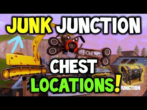 """Fortnite Junk Junction CHEST LOCATIONS! """"Search Chests in Junk Junction"""" - Challenge (Battle Royale)"""