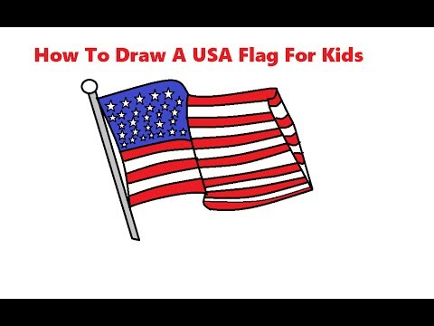 How To Draw A Usa Flag For Kids Step By Step Easily Youtube