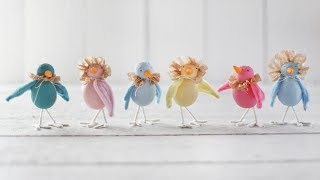 Easter Craft: Spun Cotton Spring Birds with Coffee Filter Bonnets and Ruffs
