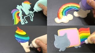 Rainbow Color Pancake Art - Rainbow Dash, Rainbow Clouds, Nyan Cat, Rainbow Ice Cream