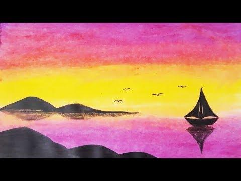 Pastel Boya Ile Kolay Manzara Resmi Nasil Cizilir Easy Pastel Paint Drawing Youtube