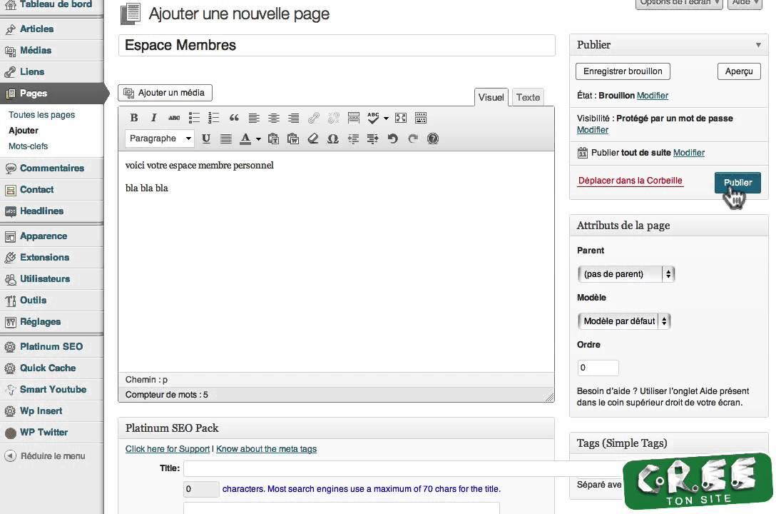 La creation d'espace membre sous wordpress, sans plugin, et gratuit!