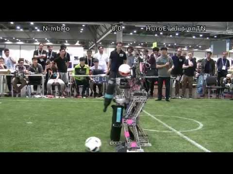 RoboCup 2016 Humanoid TeenSize Final: NimbRo vs. HuroEvolutionTN