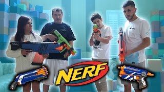 CRAZY NERF WAR VS MY FAMILY!!