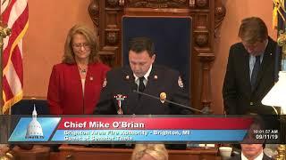 Sen. Theis welcomes Brighton Fire Chief Mike O'Brian to the Senate