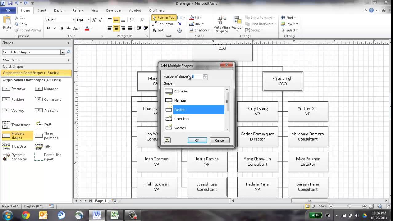 Create an org chart in visio using the wizard youtube for Visio hierarchy template