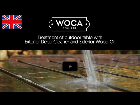 Treatment of outdoor table with WOCA Exterior Deep Cleaner and Exterior Wood Oil