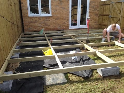 Installing a basic raised frame decking, with reclaimed scaffold ...