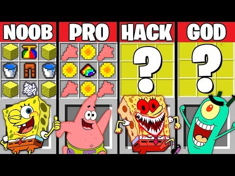 Minecraft Battle: SPONGEBOB EXE CRAFTING CHALLENGE ~ NOOB vs PRO vs HACKER vs GOD - Animation