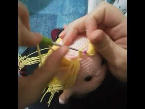Amigurumi Bebekte Saç Yapımı : Amigurumi saç ekimi makaron uler youtube