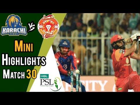 Short Highlights | Karachi Kings Vs Islamabad United  | Match 30 | 16 March | HBL PSL 2018