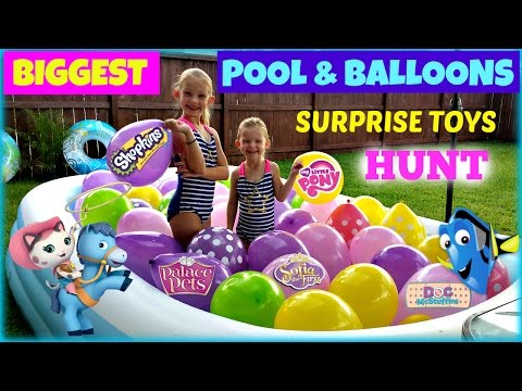 BIGGEST POOL & BALLOONS - Surprise Toys Hunt Shopkins My Little Pony Sofia the First Finding Dory