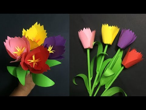 How to Make Paper Tulip Flower | Making Paper Flowers Step by Step | DIY-Paper Crafts