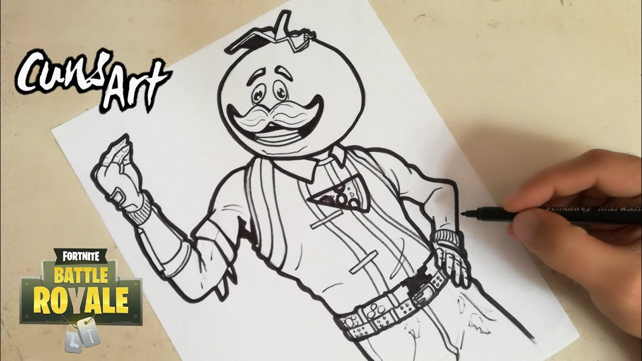 como dibujar a cabeza de tomate fortnite how to draw tomato head - personajes de fortnite para dibujar deriva