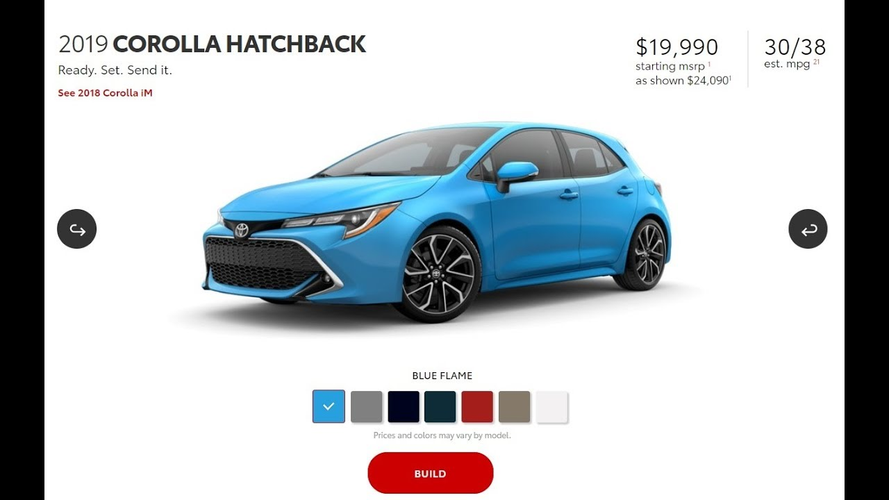 Let S Build A 2019 Toyota Corolla Hatchback Se Xse On The Toyota
