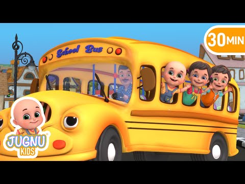 The Wheels On The Bus | We Are Driving In The Car | ABCs 123s | Jugnu Kids Nursery Rhymes