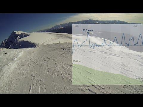 1080p 48fps Спуск на скорость по трассе Роза Хутор, Сочи 2015, noname, сноуборд видео, speed