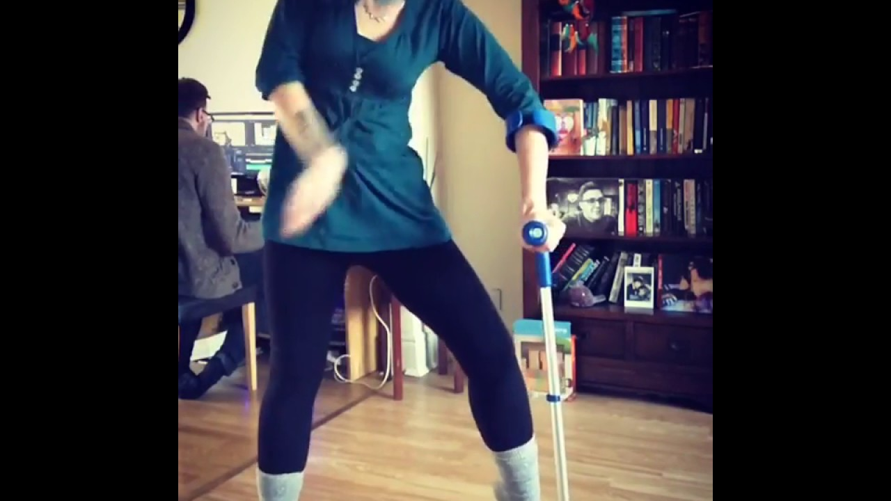 double amputee girl go out using 1 crutch part 2. - YouTube