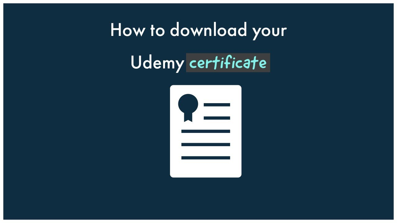 How To Download Udemy Certificate Youtube