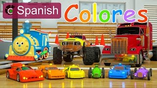Learn Colors (SPANISH) - Colores y coches de carreras con Max, Bill y Pete el camión - TOYS thumbnail