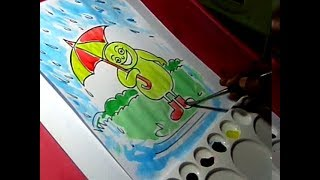 How to Draw Simple Rainy Season Color Drawing for kids