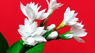 How to make Paper Flower Mogra / Arabian Jasmine (Flower # 84)