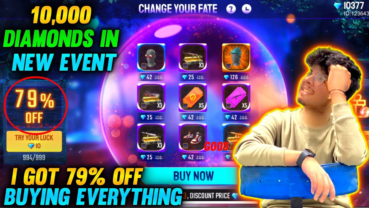 FREEFIRE || I GOT 79% OFF IN NEW EVENT ( CHANGE YOUR FATE ) || BUYING BUNDLES,GUN CRATES ETC - TSG