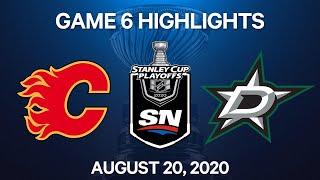 NHL Highlights | 1st Round, Game 6: Stars Vs. Flames - Aug. 20, 2020