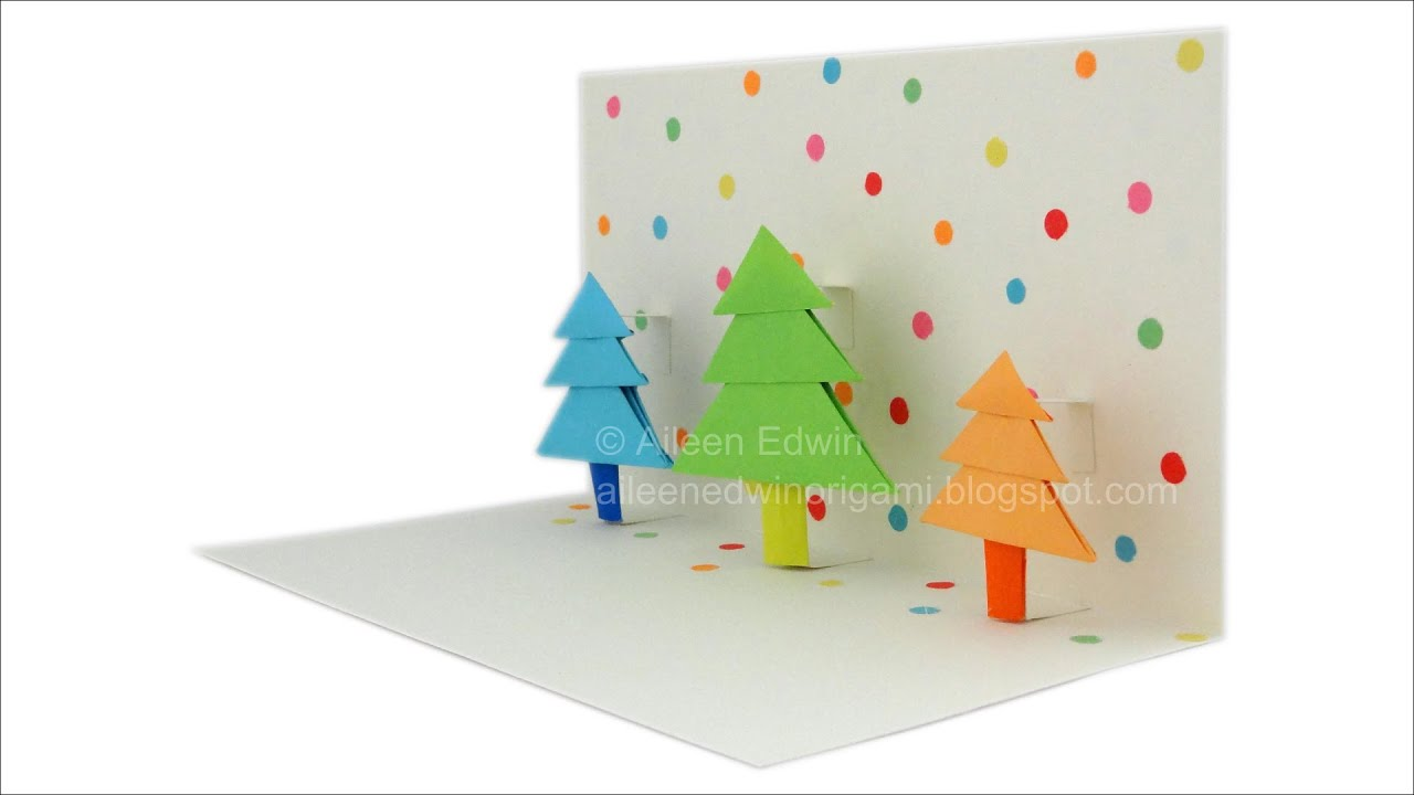origami pop up christmas tree card video tutorial hd youtube. Black Bedroom Furniture Sets. Home Design Ideas