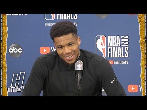 Giannis Antetokounmpo Postgame Interview - Game 5 - Bucks vs Suns   2021 NBA Finals