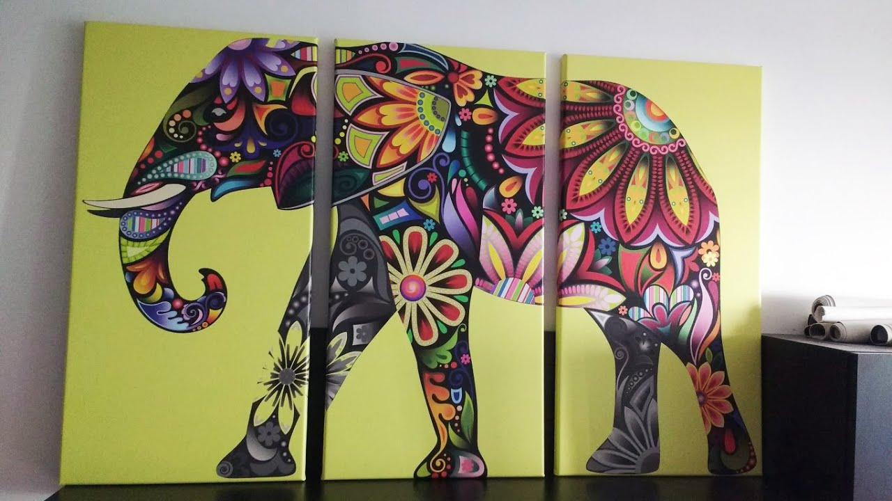 Eutisona cuadros elefante de colores youtube - Cuadros de colores ...