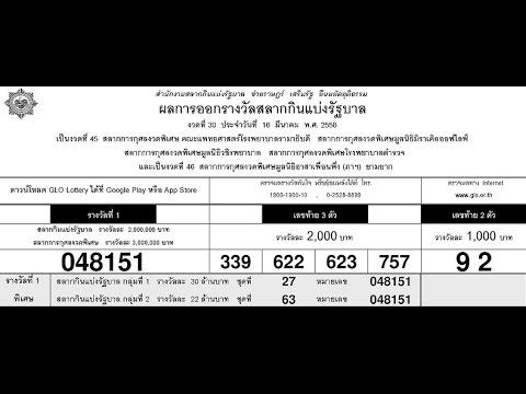 ตรวจหวย 16 มีนาคม 2558 ตรวจผลสลากกินแบ่งรัฐบาล 16/03/58