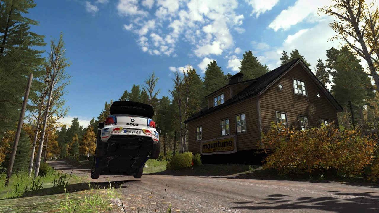 dirt rally. rally finland 2016 - yellow house jump reverse - youtube