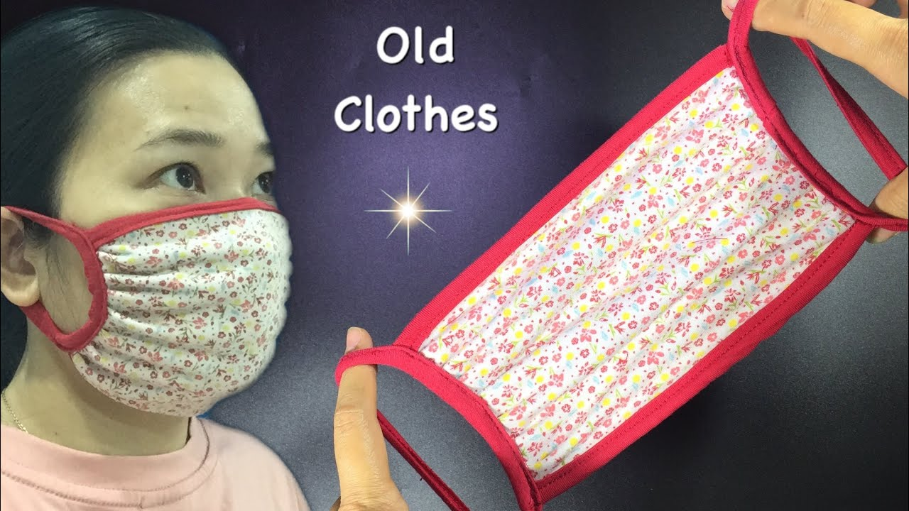 Extremely simple mask pattern from OLD CLOTHES - NO EAR PAIN  - NO ELASTIC strip/ DIY at home/
